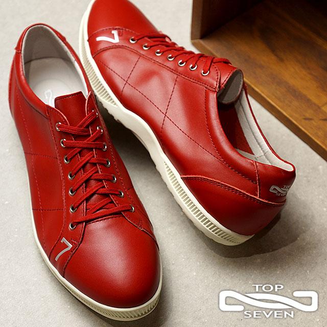 【即納】TOP SEVEN トップセブン TS-2101 レザースニーカー RED メンズ・レディース 靴 シューズ (SS18)【コンビニ受取対応商品】