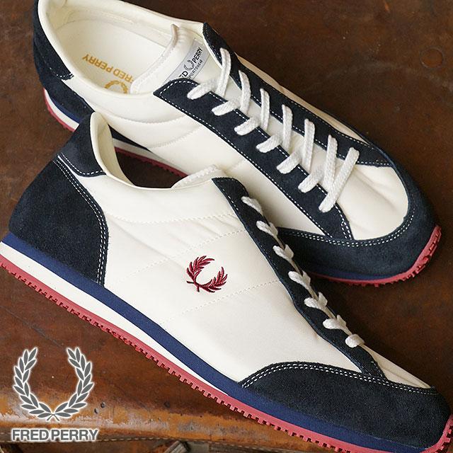 【即納】【日本生産モデル】FRED PERRY フレッドペリー スニーカー 靴 メンズ・レディース VINSON NYLON ヴィンソン ナイロン WHITE/NAVY (F29614-80 SS18)【コンビニ受取対応商品】