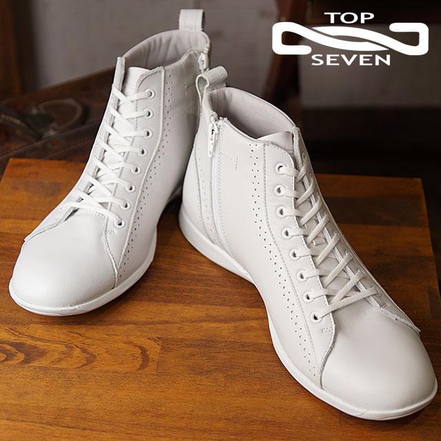 【即納】【返品送料無料】TOP SEVEN トップセブン TS-236 ハイカット レザースニーカー WHT メンズ 靴 シューズ (SS18)【コンビニ受取対応商品】