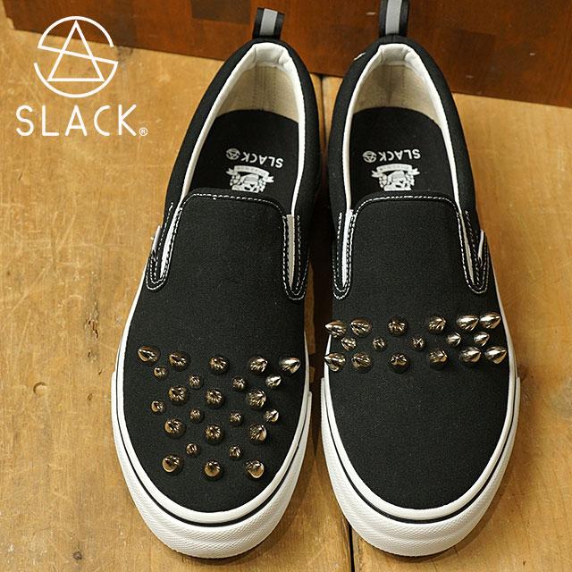 【即納】スラック × デッドマン SLACK × dedman レベル スタッズ スリップオン REBEL スニーカー 靴 メンズ・レディース BLACK/WHITE (SLC001-001 SS18)【コンビニ受取対応商品】