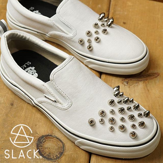 【即納】スラック × デッドマン SLACK × dedman レベル スタッズ スリップオン REBEL スニーカー 靴 メンズ・レディース WHITE/WHITE (SLC001-102 SS18)【コンビニ受取対応商品】