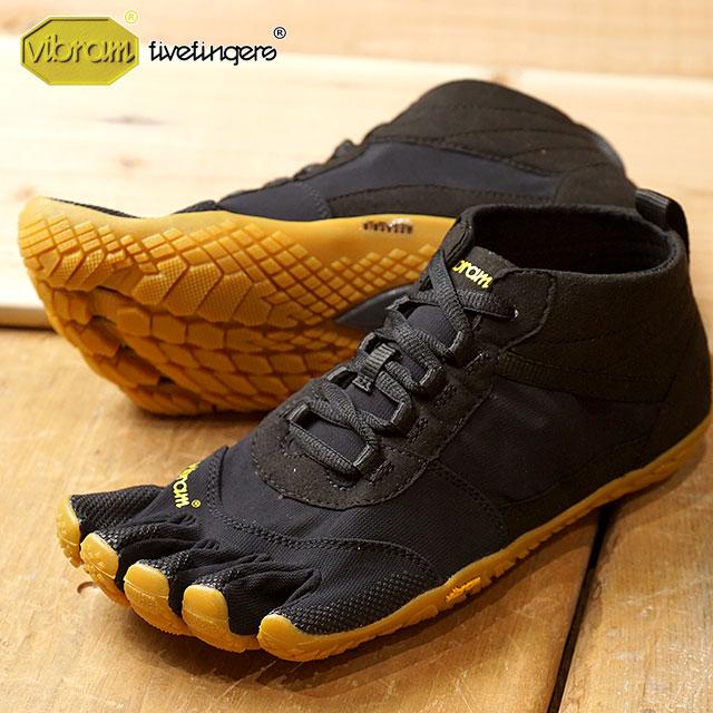 ビブラムファイブフィンガーズ メンズ Vibram FiveFingers ハイキング アウトドア カジュアル向け 5本指シューズ V-TREK ベアフット 靴 Black/Gum (18M7401 SS18)【コンビニ受取対応商品】