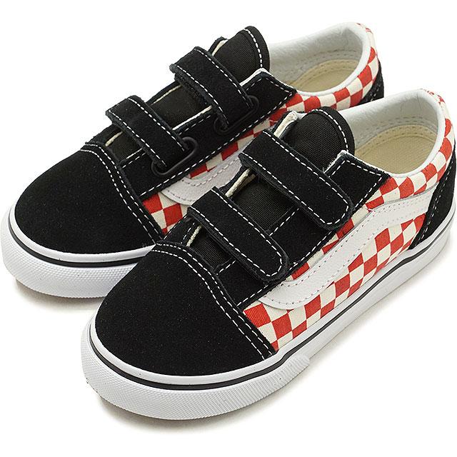 3cc4fb02ce4 VANS vans kids sneakers shoes Checkerboard Old Skool V checkerboard old  school Velcro black red black   red (VN0A344K35U SS18)