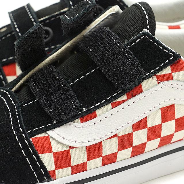 e24c3043e5c9a2 VANS vans kids sneakers shoes Checkerboard Old Skool V checkerboard old  school Velcro black red black   red (VN0A344K35U SS18)