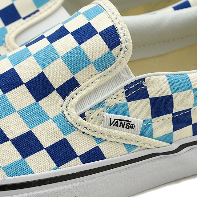 abdfc18793 VANS vans men sneakers shoes Checkerboard Classic Slip-On checkerboard  classical music slip-on slip-ons blue topaz blue blue (VN0A38F7QCM SS18)