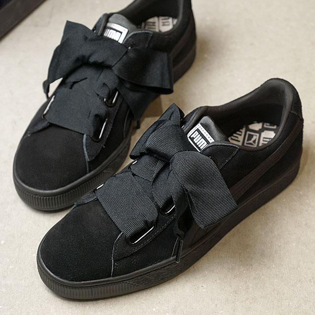 PUMA Puma Lady s sneakers shoes SUEDE HEART EP suede heart EP ribbon race P .BLACK M.BEIGE (366 c3e44116e