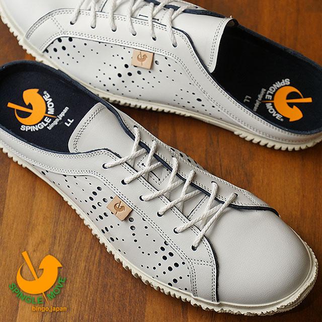 【即納】【返品送料無料】SPINGLE MOVE スピングルムーブ SPM-721 クロッグ レザーサンダル White/Navy メンズ・レディース 靴 スピングル ムーヴ (SPM721-67 SU18)【コンビニ受取対応商品】