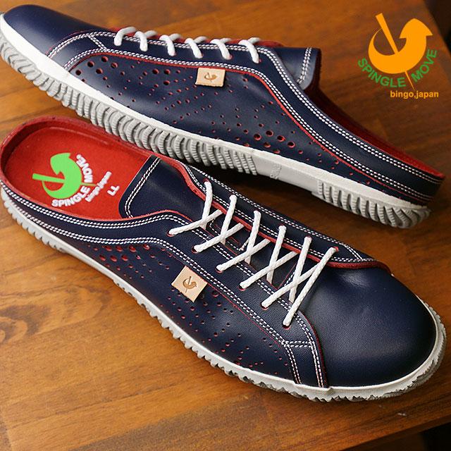 【即納】【返品送料無料】スピングルムーブ SPINGLE MOVE SPM-721 レザークロッグ サンダル メンズ レディース 靴 シューズ ネイビー (SPM721 FW18)【コンビニ受取対応商品】