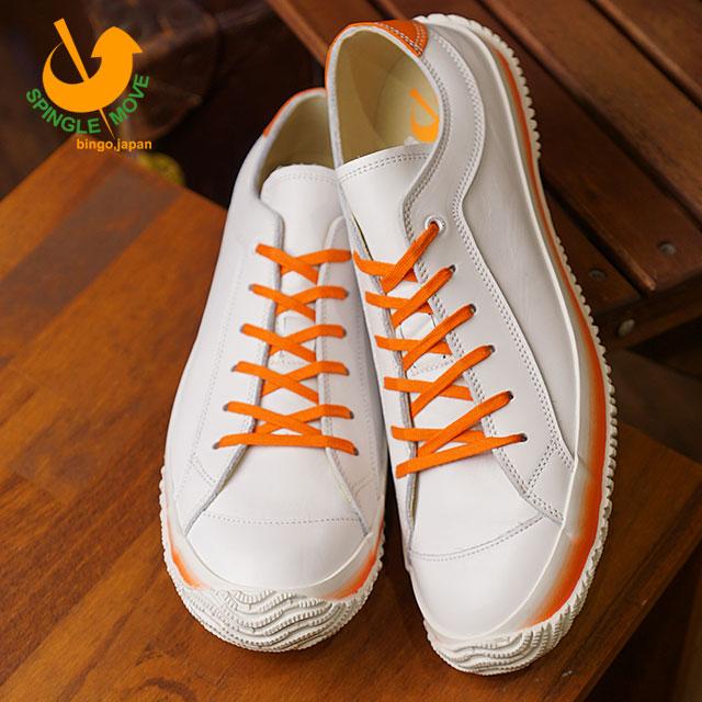 【即納】【返品送料無料】SPINGLE MOVE スピングルムーブ SPM-108 レザースニーカー White/Orange メンズ 靴 スピングル ムーヴ (SPM108-76 SU18)【コンビニ受取対応商品】