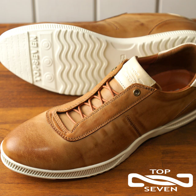 トップセブン TOP SEVEN TS-5510 レザースニーカー CAMEL メンズ 靴 (SS18)【コンビニ受取対応商品】