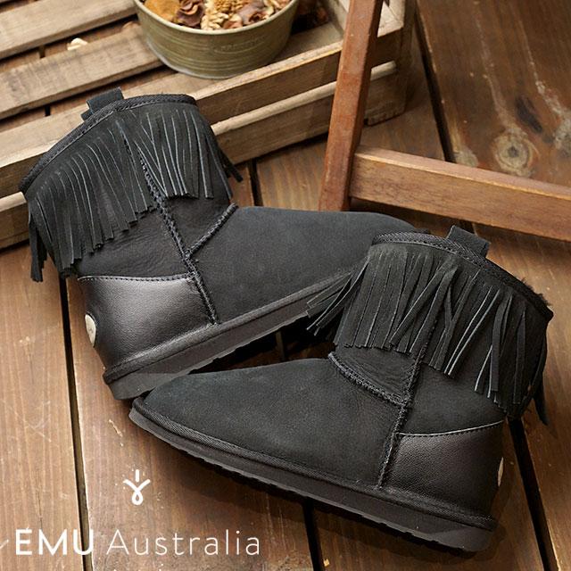 【在庫限り】emu エミュー オーストラリア ムートンブーツGLAZIERS レディース 靴 BLACK (W11542)【ts】【コンビニ受取対応商品】
