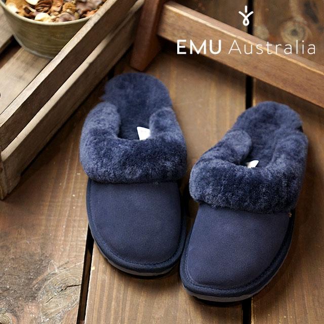 【在庫限り】emu エミュー オーストラリア シープスキン スリッパサンダルJOLIE レディース 靴 MIDNIGHT (W10015)【ts】【コンビニ受取対応商品】