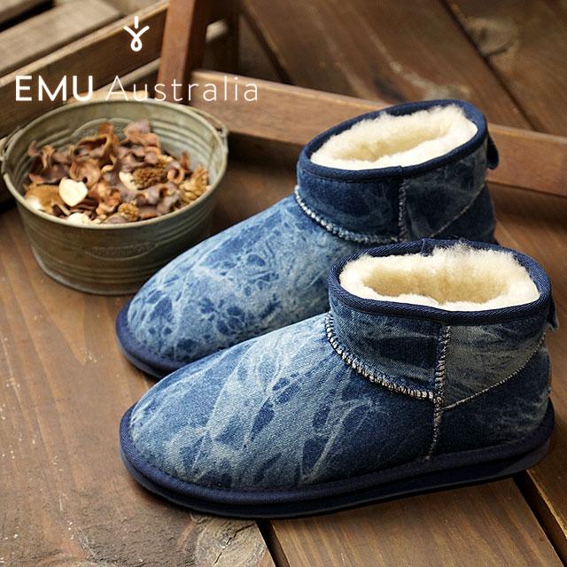 【在庫限り】emu エミュー オーストラリア シープスキン デニムブーツSTINGER DENIM MICRO スティンガー デニム マイクロ レディース 靴 INDIGO DENIM DISTRESS (W11376)【ts】【コンビニ受取対応商品】
