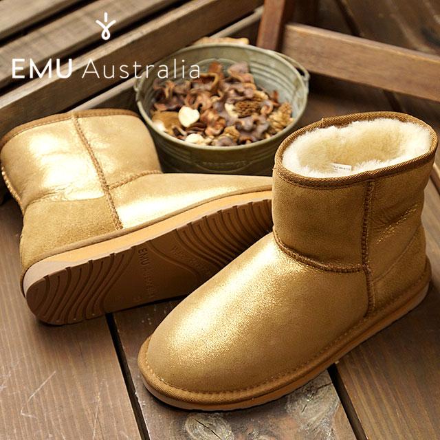emu エミュー オーストラリア ムートンブーツSTINGER METALLIC MINI スティンガー メタリック ミニ レディース 靴 GOLD (W11378)【ts】【e】