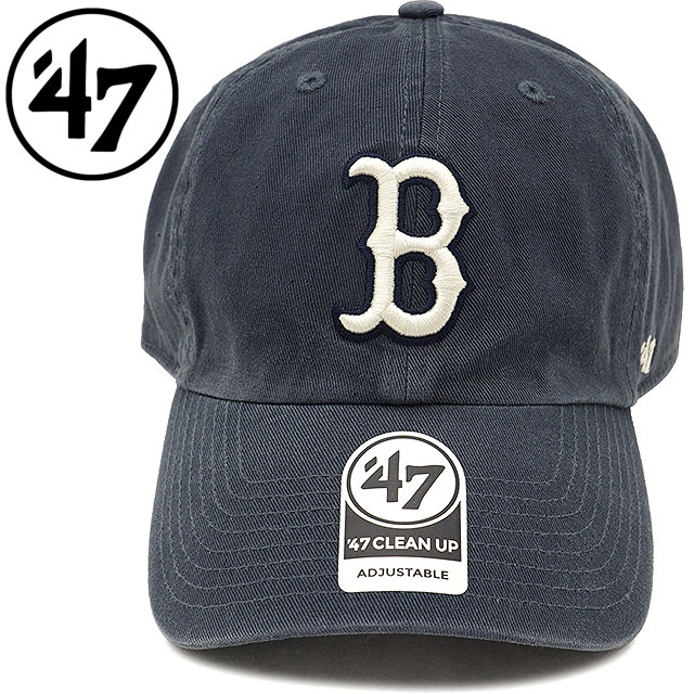 Forty seven  47 cap MLB Red Sox  47 CLEAN UP Red Sox men gap Dis adjuster  bulldog hat VINTAGE NAVY (RGW02GWS SS18) 5a788637405