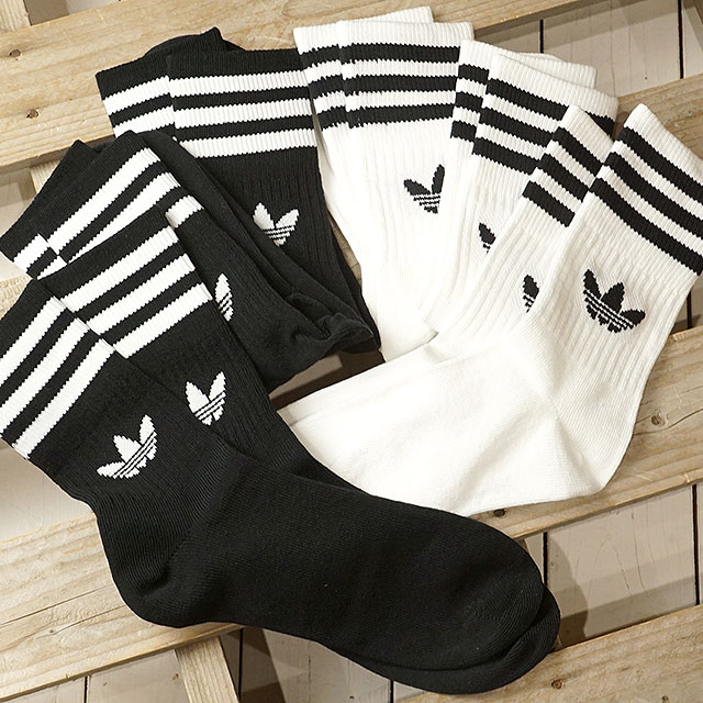 Adidas originals adidas Originals 3 pack crew sock MID CUT CREW SOCKS 3P ???????????? knee lower men gap Dis socks (FWV70DX9092 DX9091 SS19)