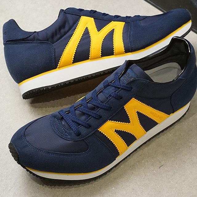 Mizuno M line Mizuno M Line domestic production sneakers MR 1 men gap Dis Nippon Shoe navy yellow (D1GA1950 14 SS19)