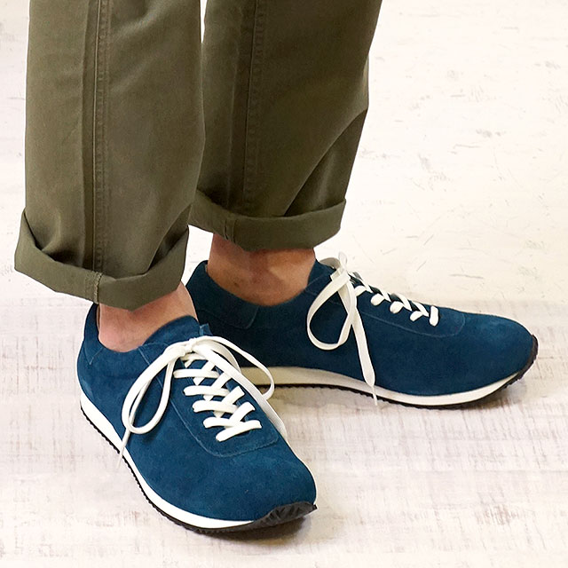 【即納】ブルーオーバー blueover マイキー MIKEY メンズ 日本製 ベロアレザー スニーカー 靴 D.NAVY ネイビー系 (SS19)