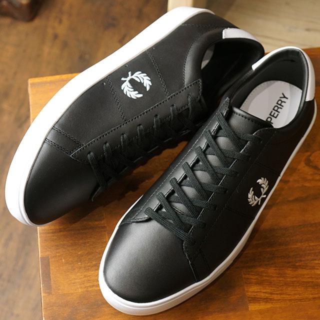 【即納】フレッドペリー FRED PERRY スペンサー レザー SPENCER LEATHER メンズ レディース スニーカー 靴 BLACK/WHITE (B5141-102 SS19)