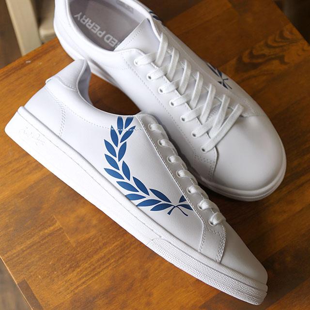 【即納】フレッドペリー FRED PERRY B721 プリンテッド ローレル レザー B721 PRINTED LAUREL LEATHER メンズ レディース スニーカー 靴 WHITE/MID BLUE (B4231-200 SS19)