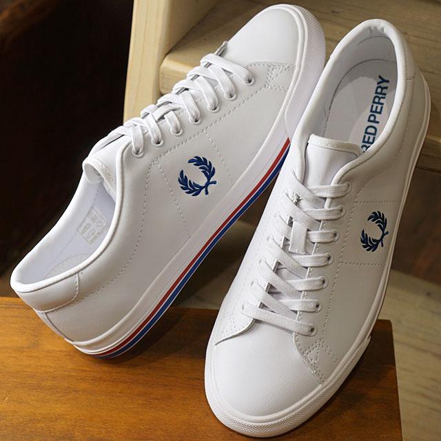 【即納】フレッドペリー FRED PERRY アンダースピン レザー UNDERSPIN LEATHER メンズ レディース スニーカー 靴 WHITE/MID BLUE (B4149-134 SS19)