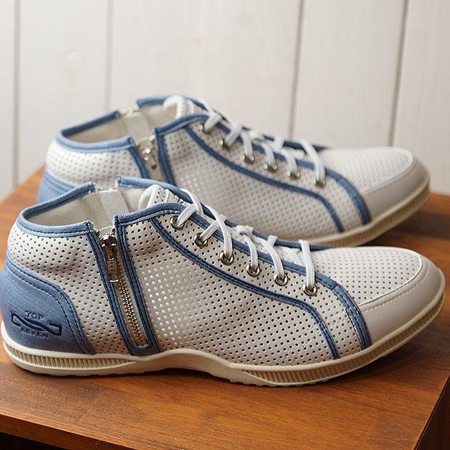 【即納】トップセブンTOP SEVEN ダブルジップ レザー スニーカー ロサンゼルス TS-0701LA メンズ レディース 大人カジュアル 靴 WHT/LT.BLUE ホワイト系 (SS19)