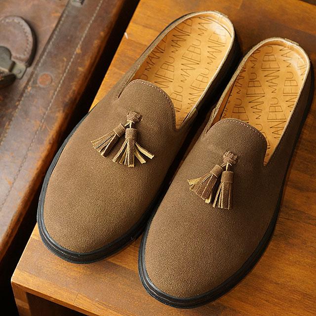 マネブ MANEBU メンズ プラン スリッパ スエード PRAN SLIPPER SUEDE カジュアルシューズ クロッグサンダル 靴 D.BROWN ブラウン系 (MNB-024S SS19)【ts】【e】