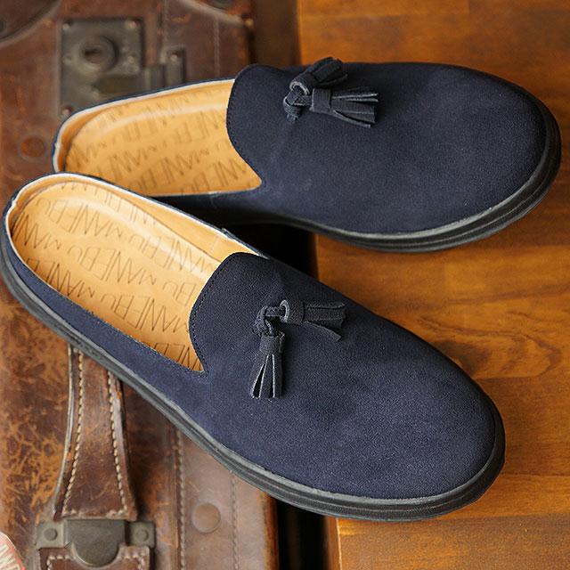 マネブ MANEBU メンズ プラン スリッパ スエード PRAN SLIPPER SUEDE カジュアルシューズ クロッグサンダル 靴 NAVY ネイビー系 (MNB-024S SS19)【ts】【e】