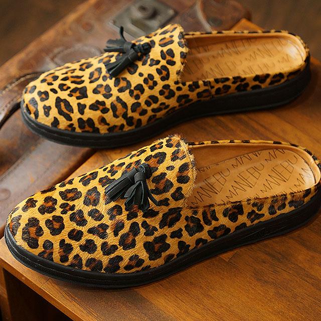 マネブ MANEBU メンズ プラン スリッパ ハラコ PRAN SLIPPER HARAKO カジュアルシューズ クロッグサンダル 靴 LEOPARD ブラウン系 (MNB-024H SS19)【ts】【e】