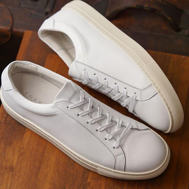 【月間優良ショップ】ヨーク YOAK メンズ スタンレー STANLEY レザースニーカー 日本製 靴 WHITE ホワイト系 ( SS19)