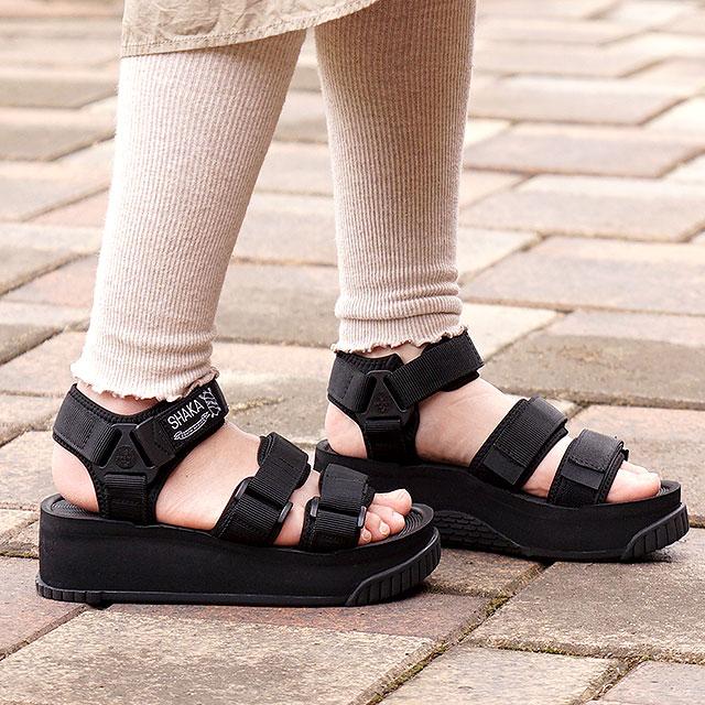 【月間優良ショップ】SHAKA シャカ サンダル ネオ バンジー プラットフォーム NEO BUNGY PLATFORM メンズ・レディース 厚底 ストラップ アウトドア 靴 BLACK ブラック系 (SK433105)