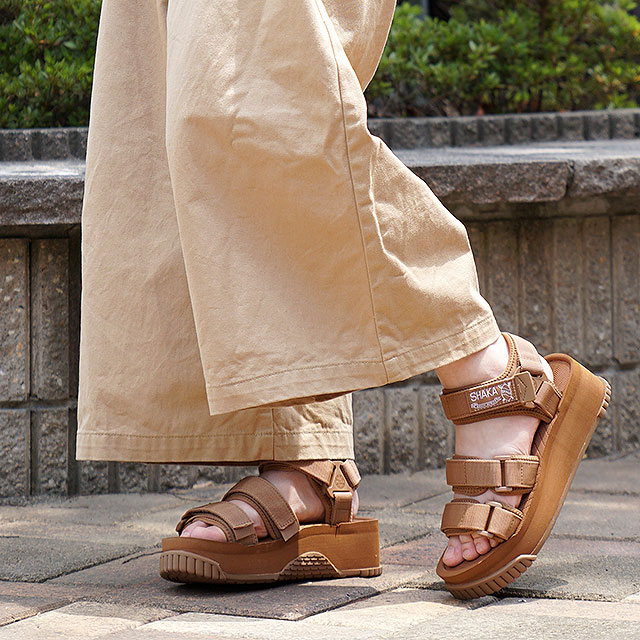 【月間優良ショップ】SHAKA シャカ サンダル ネオ バンジー プラットフォーム NEO BUNGY PLATFORM メンズ・レディース 厚底 ストラップ アウトドア 靴 MOCA ブラウン系 (SK433105)