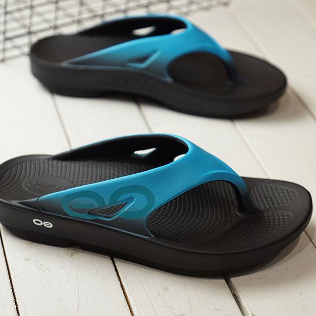 【12/31 14時まで!ポイント10倍】ウーフォス OOFOS ウーオリジナル スポーツ Ooriginal Sport メンズ レディース ランニング リカバリーサンダル 靴 Black/Aqua ブルー系 (5020030 SS19)