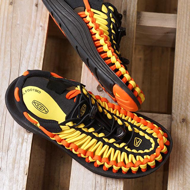 【即納】キーン KEEN レディース ユニーク フラット WOMEN UNEEK FLAT サンダル 靴 Vibrant Yellow/Flame (1020799 SS19)