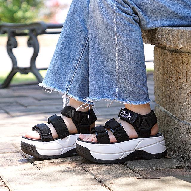 SHAKA シャカ サンダル レディース ネオ バンジー チャンキーソール NEO BUNGY CHUNKY 厚底 ストラップ アウトドア 靴 BLACK ブラック系 (SK433114 SS19)【ts】【e】