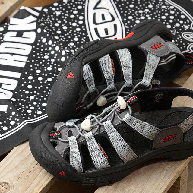 【コラボ】キーン × フジロック KEEN × FUJIROCK レディース ニューポート H2 W NEWPORT H2 サンダル ウォーターシューズ アウトドア 靴 STONE/FIRE RED グレー系 (1021886 FW19)