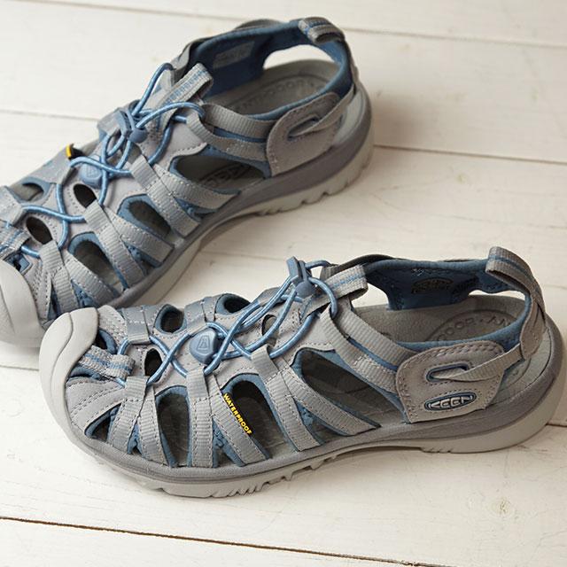 キーン KEEN サンダル ウィスパー W WHISPER (1017357 FW19) レディース スポーツサンダル キャンプ アウトドア 靴 BLUE SHADOW/ALLOY グレー系【ts】【e】