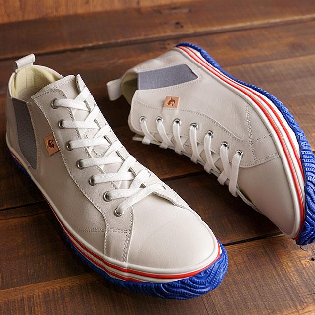 【月間優良ショップ】【返品送料無料】スピングルムーブ SPINGLE MOVE スニーカー カンガルーレザー サイドゴア SPM-442 メンズ・レディース 日本製 靴 Tricolor ホワイト系 (SPM442-180 SS20)