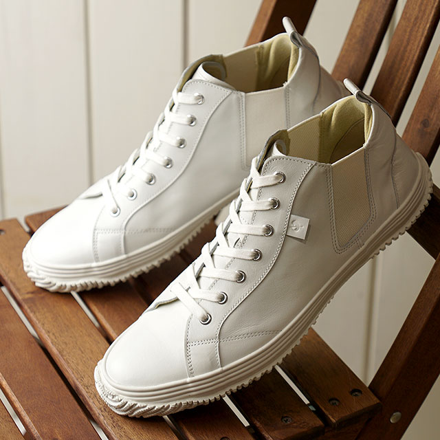 【月間優良ショップ】【返品送料無料】スピングルムーブ SPINGLE MOVE スニーカー カンガルーレザー SPM-442 (SPM442-82 SS20) メンズ・レディース スピングル ムーヴ 日本製 サイドゴア 靴 White/White ホワイト系
