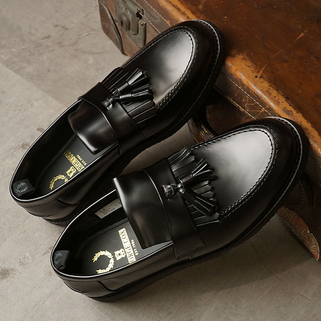 【月間優良ショップ】【コラボ】フレッドペリー FRED PERRY ローファー ジョージコックス タッセルローファー FP×GEORGE COX TASSEL LOAFER (B9278-102 SU20) メンズ・レディース 革靴 BLACK ブラック系