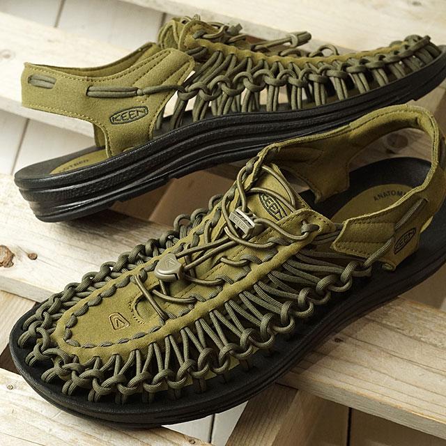 【月間優良ショップ】【限定】KEEN キーン サンダル ユニーク M UNEEK (1023381 SS20) メンズ アウトドア スニーカー 靴 Dark Olive/Black カーキ系
