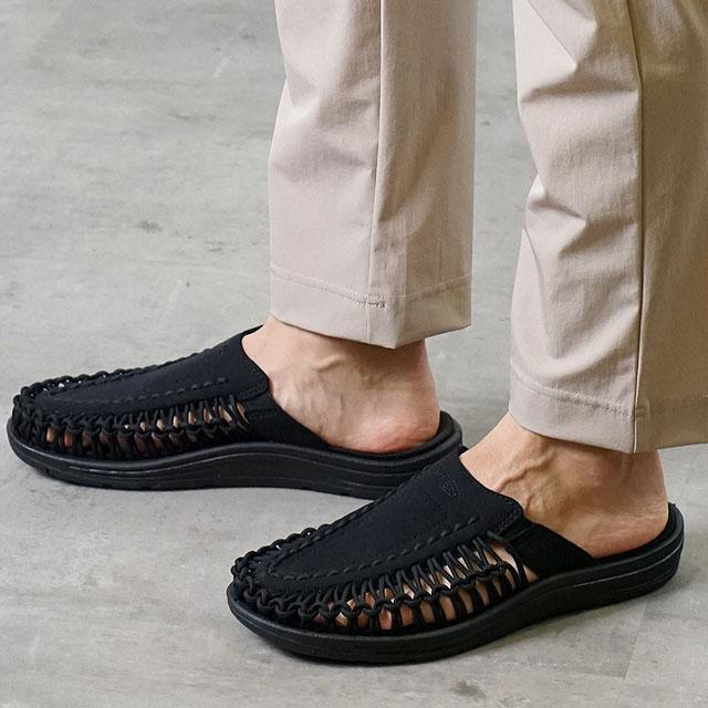 【月間優良ショップ】KEEN キーン サンダル ユニーク ツー スライド M UNEEK II SLIDE (1022371 SS20) メンズ アウトドア スニーカー 靴 Black/Black ブラック系