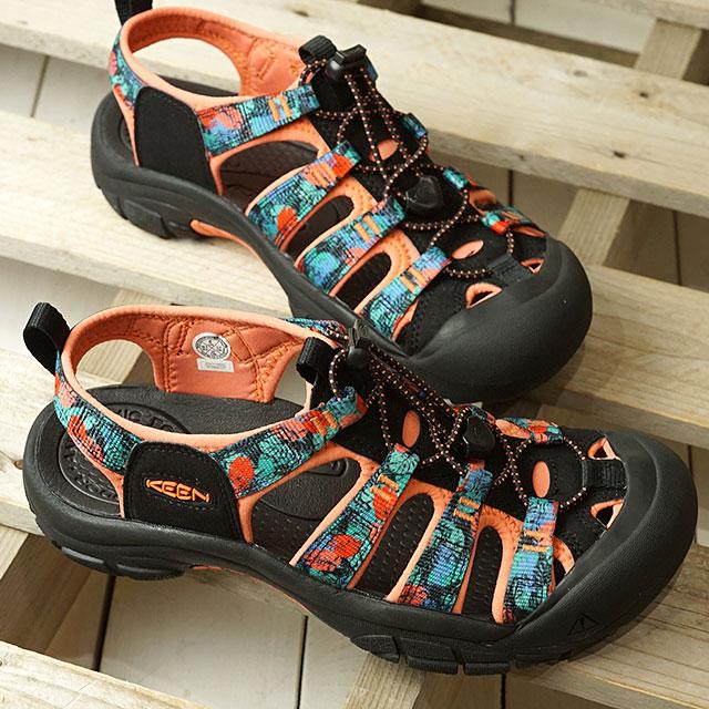 【月間優良ショップ】KEEN キーン サンダル ニューポート エイチツー W NEWPORT H2 (1022796 SS20) レディース アウトドア ウォーターシューズ 靴 Black Multi/Coral ピンク系