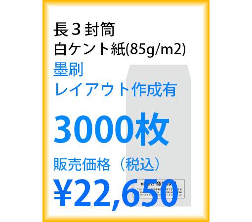 封筒印刷 長3封筒 白ケント紙(85g/m2) 墨刷 レイアウト作成有 3000枚