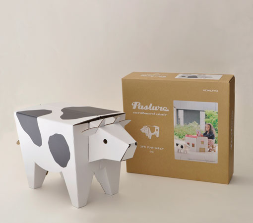 ☆Picture Book Series ☆ KE RED2 Of Sectional Corrugated Cardboard Furniture  Series ☆ KOKUYO For The Pasture Child Corrugated Cardboard Chair Cow ☆ ...