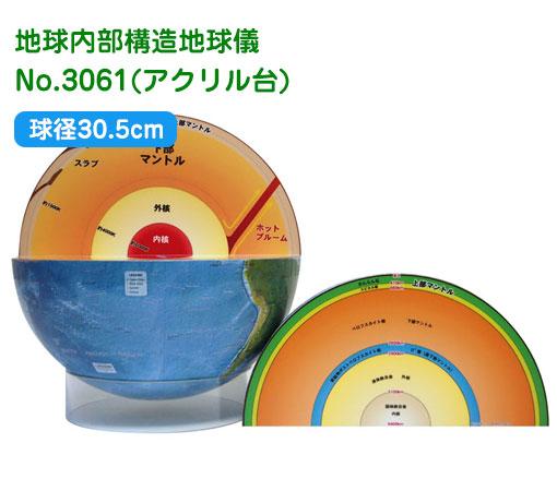 渡辺教具の地球儀 地球内部構造地球儀 球径30.5cm No.3061(アクリル台)