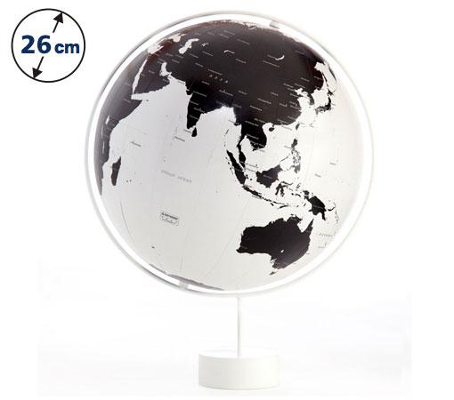 ☆渡辺教具の地球儀☆ 球径26cmの白い海に黒い陸地 ★コロナ(スチール台)★
