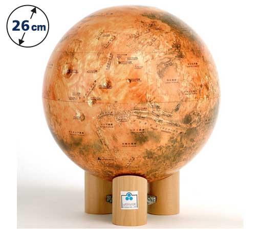 ☆渡辺教具の地球儀☆ 球径26cmの赤い星の火星 ★火星儀 MY(木台)★