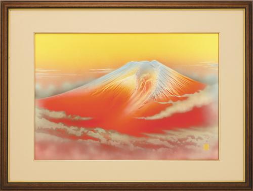 晴山作高肉彫額『黎明赤富士』   【通販・販売】