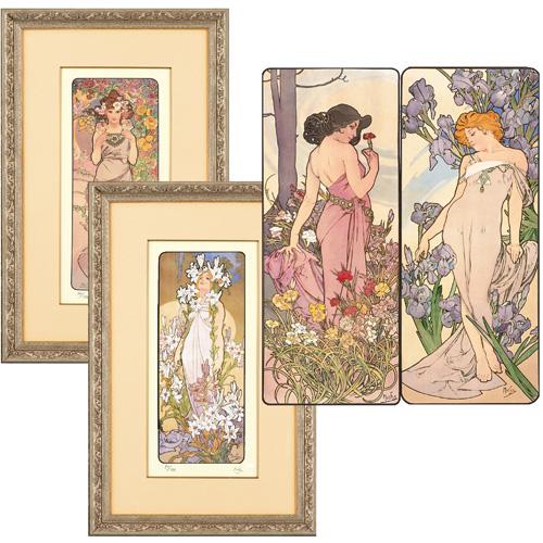 アルフォンス・ミュシャ ネオシルク 『四つの花』(4点一組)額2点つき ミュシャ財団公認【絵画・複製画】【通販・販売】